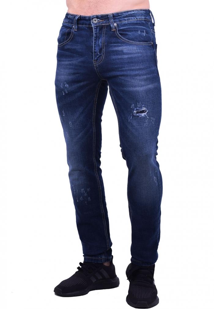 57631c62c04 Παντελόνι τζιν με φθορές σκούρο μπλε - Moda4u