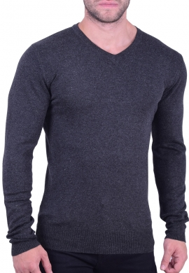 Μπλούζα βαμβακερό πλεκτό V γκρί
