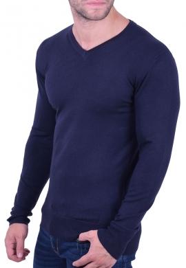 Μπλούζα μακρυμάνικη με V σκούρο μπλε
