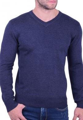 Μπλούζα μακρυμάνικη με V μπλε