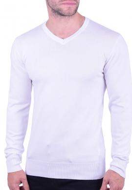 Μπλούζα μακρυμάνικη με V λευκή