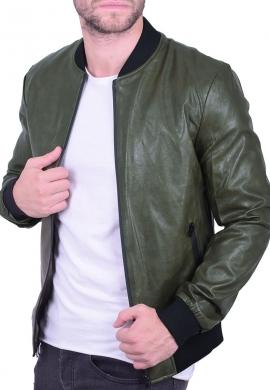 Ανδρικό bomber jacket  δερματίνης χακί