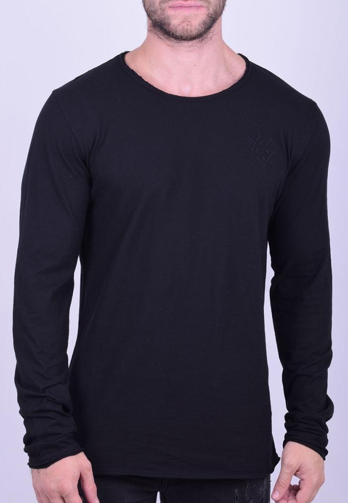 e4018be31fb3 Μπλούζα μακρυμάνικη μονόχρωμη μαύρη  Μπλούζα μακρυμάνικη μονόχρωμη μαύρη ...