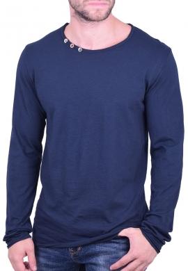 Μπλούζα μακρυμάνικη με κουμπάκια μπλε
