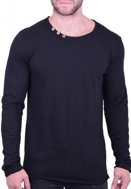 Μπλούζα μακρυμάνικη με κουμπάκια μαύρη