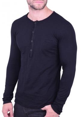 Μπλούζα με κουμπάκια και τσεπάκι μαύρη