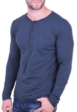 Μπλούζα με κουμπάκια και τσεπάκι μπλε