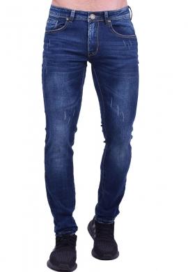 Παντελόνι τζιν με ξεβάματα σκούρο μπλε