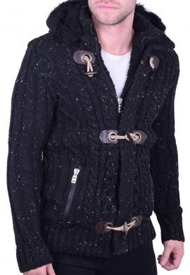 Ζακέτα πλεκτή με γούνα μαύρη
