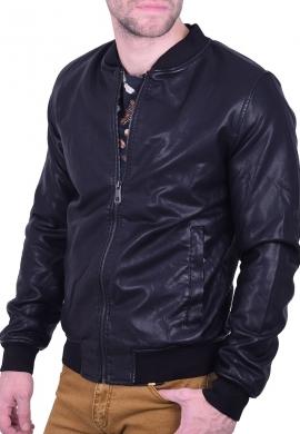 Ανδρικό bomber jacket  δερματίνης μαύρο