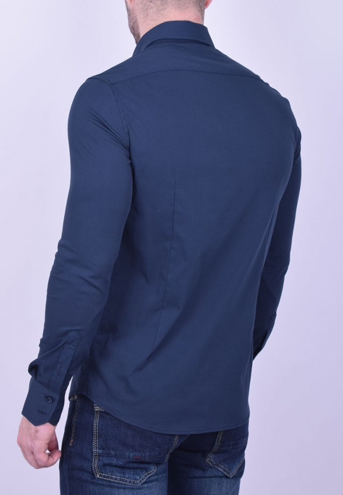 76bf7aa52b3 Ανδρικό Πουκάμισο μονόχρωμο μπλε