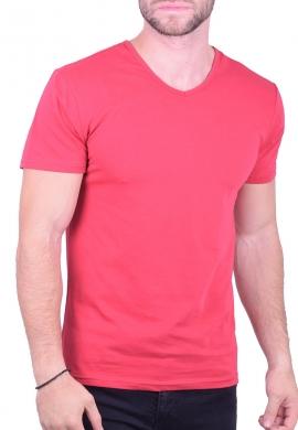 T-Shirt με V μονόχρωμο φούξια