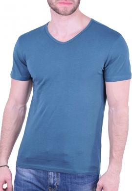 T-Shirt  με V μπλε ραφ