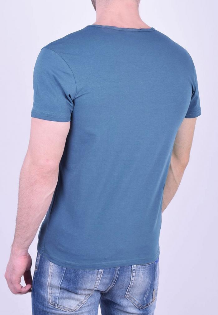 851516a930d3 T-Shirt με V μπλε ραφ - Moda4u