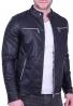 Μπουφάν δερματίνης τύπου biker μαύρο