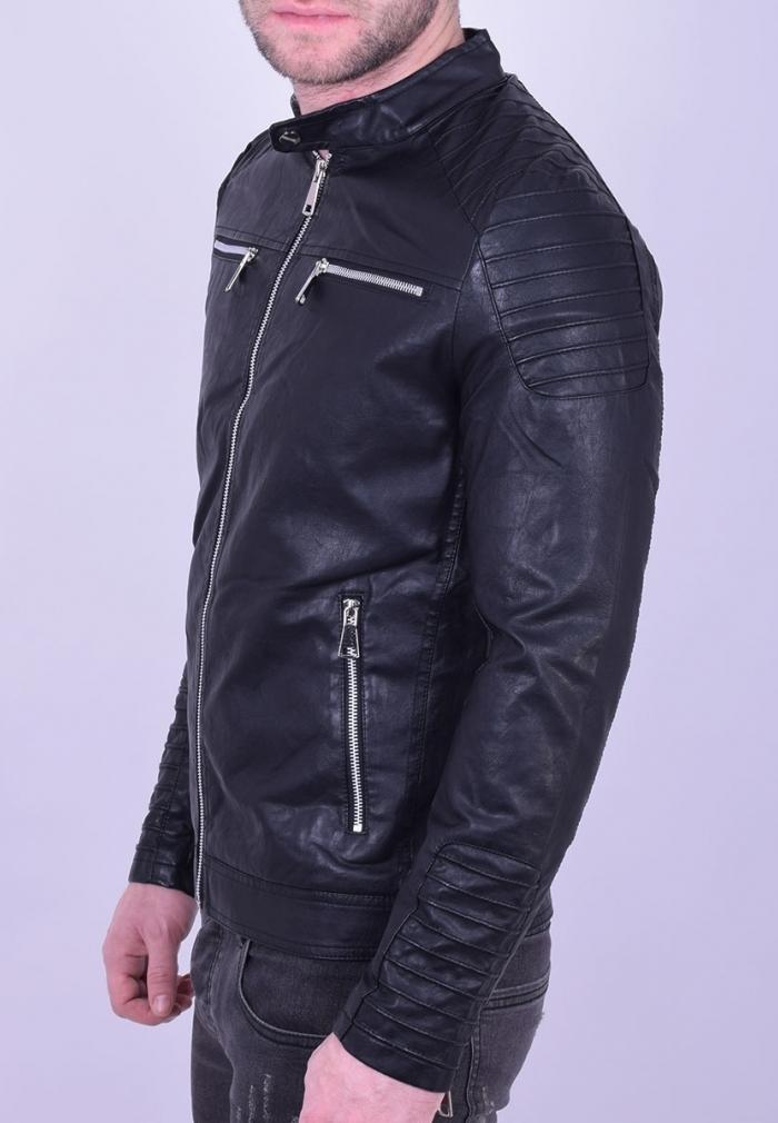 Μπουφάν δερματίνης τύπου biker μαύρο - Moda4u e2d60b5c82e