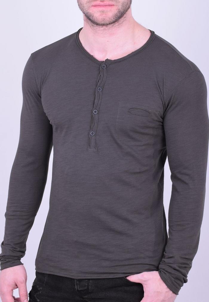 3db0c3e8a22c Μπλούζα με κουμπάκια και τσεπάκι γκρι - Moda4u