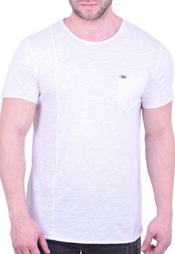 c156a6dbbc29 T-Shirt ασύμμετρο με τσεπάκι λευκό - Moda4u
