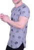 T-Shirt Μακρύ με skulls γκρι