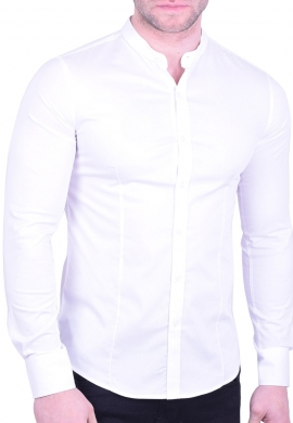 Mao collar shirt white