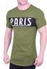 T-Shirt ασύμμετρο με τύπωμα χακί
