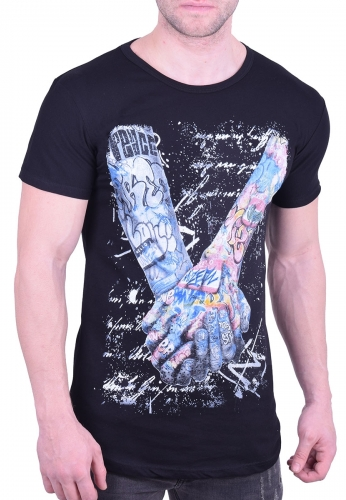 0989fc77e74c T-Shirt arms with tattoos black - Moda4u