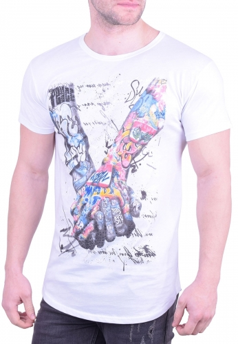 b7c1de3e0bd7 T-Shirt arms with tattoos white - Moda4u
