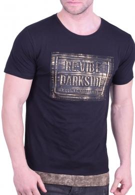 T-Shirt 3D print ασύμμετρη μαύρη