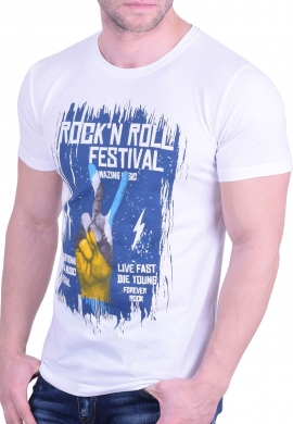 T-T-Shirt με τύπωμα λευκό
