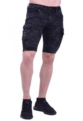 Βερμούδα τζιν biker μαύρη