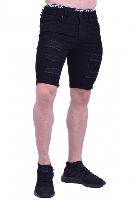 Βερμούδα τζιν με σκισίματα μαύρη