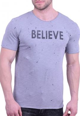 T-shirt με πιτσιλιές και τύπωμα γκρι