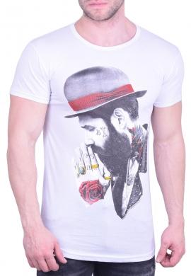 T-shirt μακρύ με φιγούρα λευκό