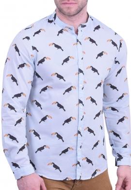 Πουκάμισο με γιακά mao με σχέδιο πουλιά