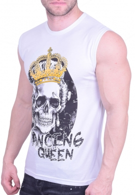 Αμάνικο t-shirt με φιγούρα λευκό