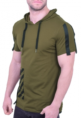 T-Shirt μακρύ με κουκούλα χακί