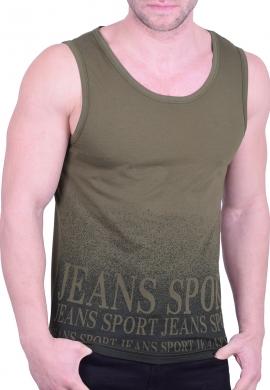 Αμάνικο t-shirt με τύπωμα χακί