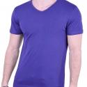 T-Shirt  με V μπλε ρουά
