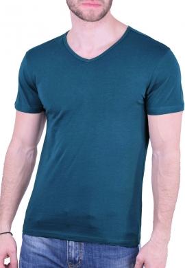 T-Shirt  με V πετρόλ