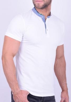 Πόλο μπλούζα με γιακά mao λευκή