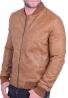 Ανδρικό bomber jacket  δερματίνης κάμελ