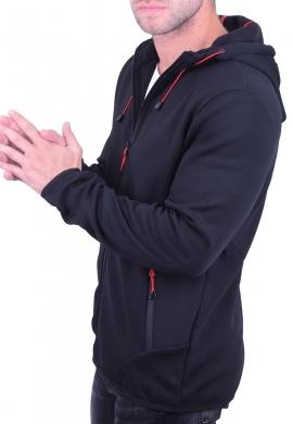 Ζακέτα ασύμμετρη με κουκούλα μαύρη