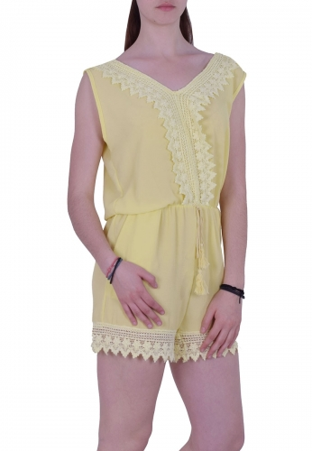 7de1df1d939f Ολόσωμη φόρμα με δαντέλα Κίτρινη - Moda4u
