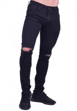 Παντελόνι τζιν με σκισίματα στα γόνατα μαύρο