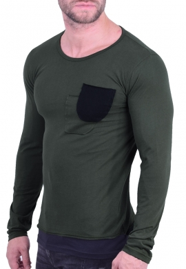 New Wave μπλούζα με τσεπάκι λαδί