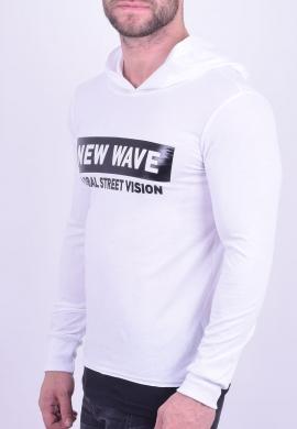 New Wave μπλούζα με κουκούλα λευκή