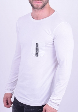 New Wave Μπλούζα Με Τσεπάκι λευκή