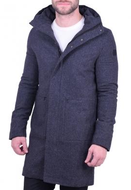 Zen & Zen παλτό με κουκούλα ανθρακί