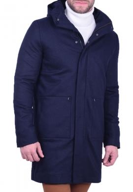 Zen & Zen παλτό με κουκούλα μπλε