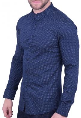Πουκάμισο mao collar σκούρο μπλε